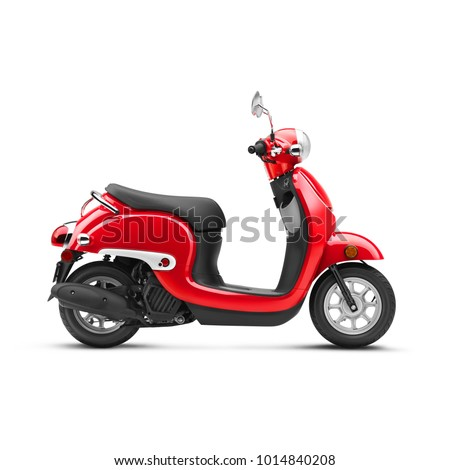 Red Scooter Isolated on White Background. Side View of Vintage Motor Scooter. Electric Retro Scooter. Motorcycle with Step-Through Platform. 3D Rendering. Modern Personal Transport. Classic Scooter