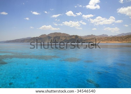 Red Sea, Aqaba gulf, Egypt. Lagoon of Dahab. - stock photo
