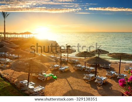 Red sea beach with parasols at sunset #329138351