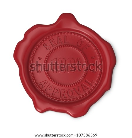 Red seal of approval 100%  on white background