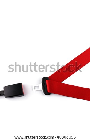 Red seat belt with a fastener and the lock isolated on the white background