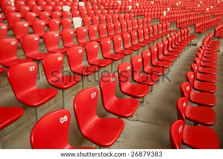 Red seats in China Olympic National Stadium (Bird's Nest), Beijing