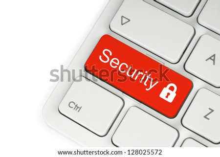 Red security button on the keyboard
