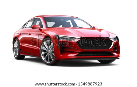 Red sedan car isolated on white background. 3D render