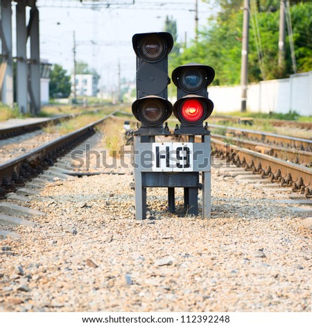 Red semaphore on railway