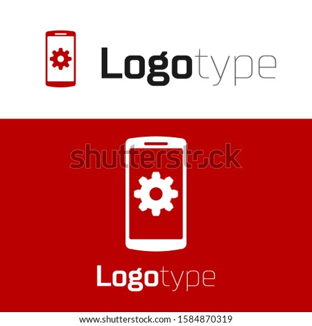 Red Setting on smartphone icon isolated on white background. Mobile phone and gear. Adjusting, service, setting, maintenance, repair, fixing. Logo design template element.  ストックフォト ©