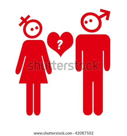 stock photo : red sex symbol couple valentine question illustration