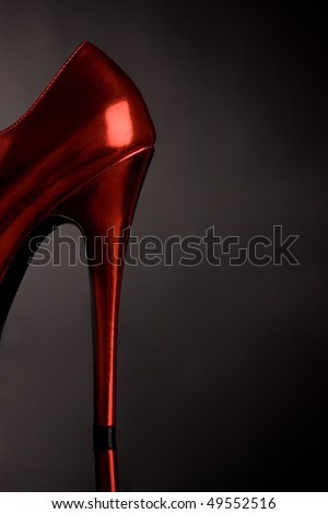 Red sexy shoe with heel - stock photo