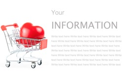 Red shape Heart in shopping cart or trolley Isolated On White Background.Blood pressure control-Health care concept