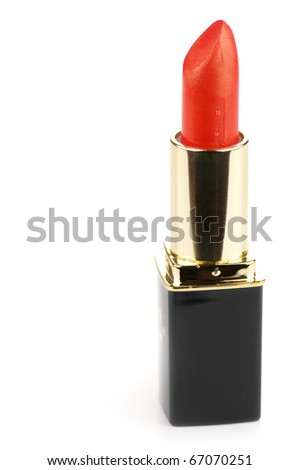Red shimmer lipstick isolated on white background.