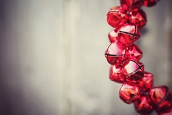 Red shinny jingle bells with copy space on the side for celebration,anniversaries,Christmas,valentine,Christmas holiday occasion