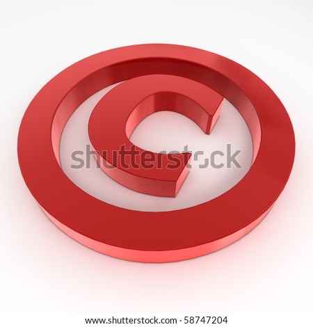 red shiny and glossy copyright sign laying on a white ground