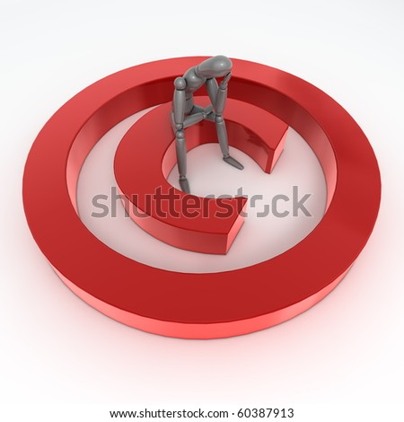 red shiny and glossy copyright sign laying on a white ground - a person in grey is sitting on it thinking and wondering