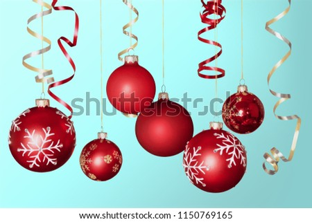 Red shiny decorative Christmas balls #1150769165