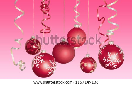 Red shiny decorative Christmas balls on white #1157149138