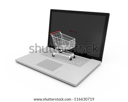 Red shiny shopping cart on laptop with reflection to blank screen, isolated on white background.