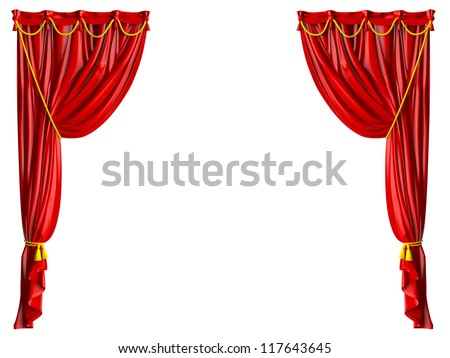 Red shiny theater curtains and yellow ropes, isolated on white background.