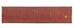 Red shipping container grooved wall straight length frontal tileable texture weathered with some dents rust and scratches isolated on white background