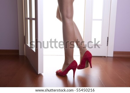 Red shoes and long legs