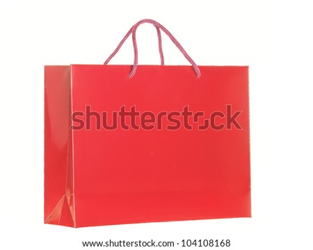 red shopping bag isolated over white background