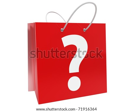 red shopping bag with big white question mark isolated over white
