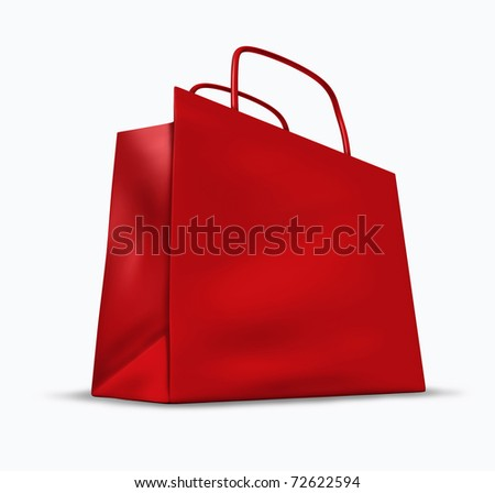 Red shopping bag with blank packaging representing the concept of retail consumers and shoppers looking for bargains and low prices at the mall department stores.