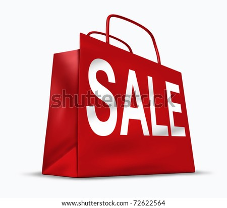 Red shopping bag with the word sale on it representing the concept of retail consumers and shoppers looking for bargains and low prices at the mall or department stores..