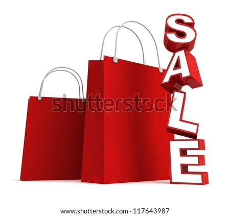 Red shopping bags and sale text on white background