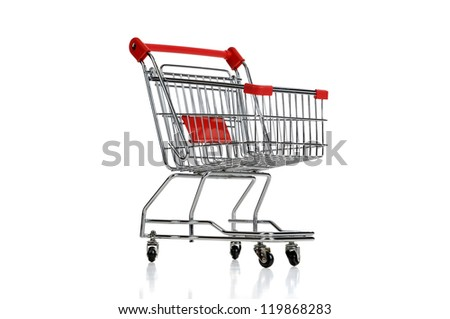 Red shopping cart isolated in white