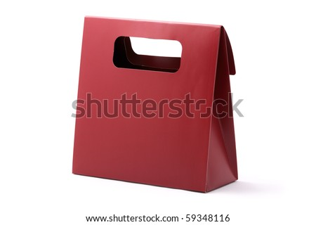 Red shopping carton bag with copyspace isolated on a white background. Studio shot.
