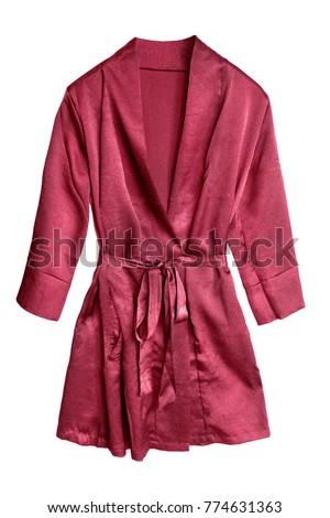 Red short satin bathrobe isolated over white #774631363