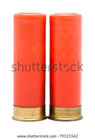red shotgun cartridges isolated on white background