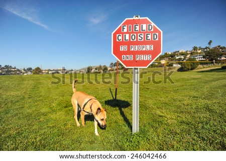 Red sign with field closed to people and pets by a grass field with a dog by it.