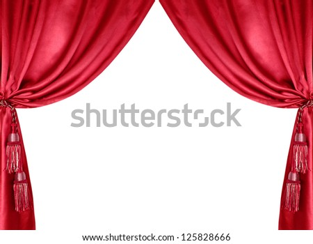 red silk curtain with tassels isolated on white background