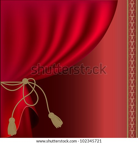 red silk curtain with tassels, rasterized versions