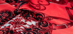 Red silk fabric with a gothic pattern. rich silk gothic prints in rich black and gold hues. This set is also suitable for a vampire lair or romantic boudoir.