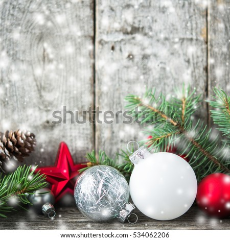 Red Silver And White Christmas Ornaments Xmas Tree On Rustic Wood Background With Blurred