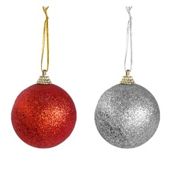 Red, silver Christmas baubles, tree decorations with string, isolated on white.