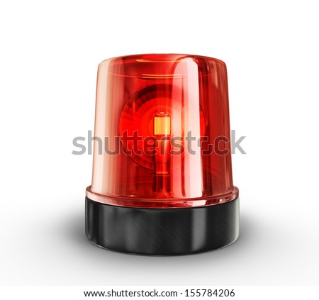 red siren isolated on a white background Stockfoto ©