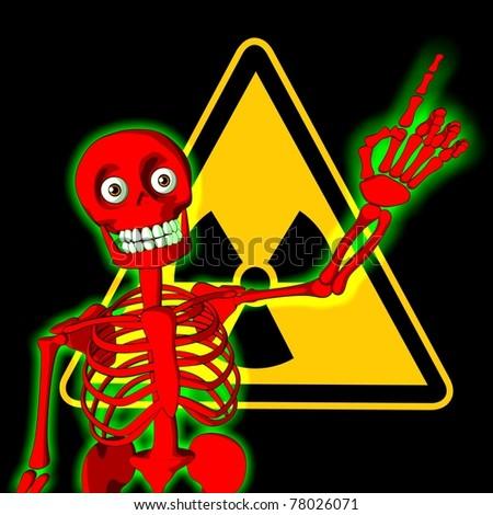 Red skeleton with symbol of radiation warning