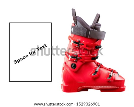 Red Ski Boots Isolated on White Background. Modern Alpine Touring Boot Side View. Snowboarding Protective Gear. Footwear for Skiing. Tour Carbon Rear-Entry Ski Boots. Ski Equipment