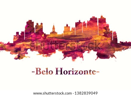 Red skyline of Belo Horizonte, the capital city of southeastern Brazil's Minas Gerais state