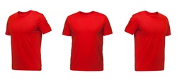 Red sleeveless T-shirt. t-shirt front view three positions on a white background