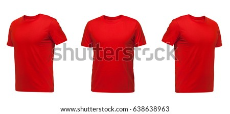 Red sleeveless T-shirt. t-shirt front view three positions on a white background #638638963