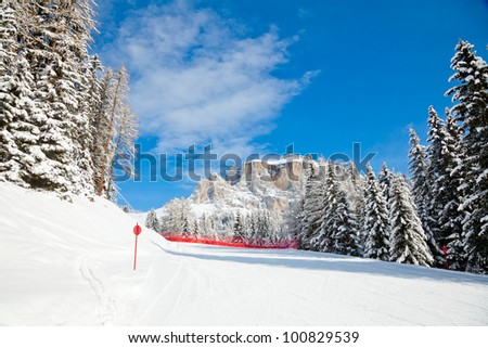 Red slope in Sella Ronda ski route, Dolomites, Italy