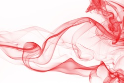 Red smoke abstract on white background, Red ink water color
