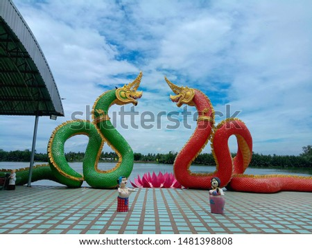 Red snake and green snake
