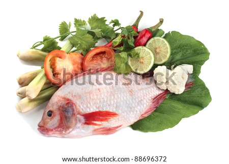 Red snapper fish with tomatoes, key lime, chilies, lemongrass, salad and ice.