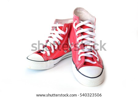 Red sneakers on white background #540323506