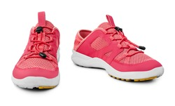 Red sneakers white background isolated close up front side view, pink sport sneaker shoes, pair running gumshoes, two fabric fitness boots, athletic leather footwear, fashion walking textile footgear